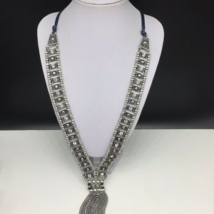 Chico's Necklace Silver Tassel Clear Rhinestone